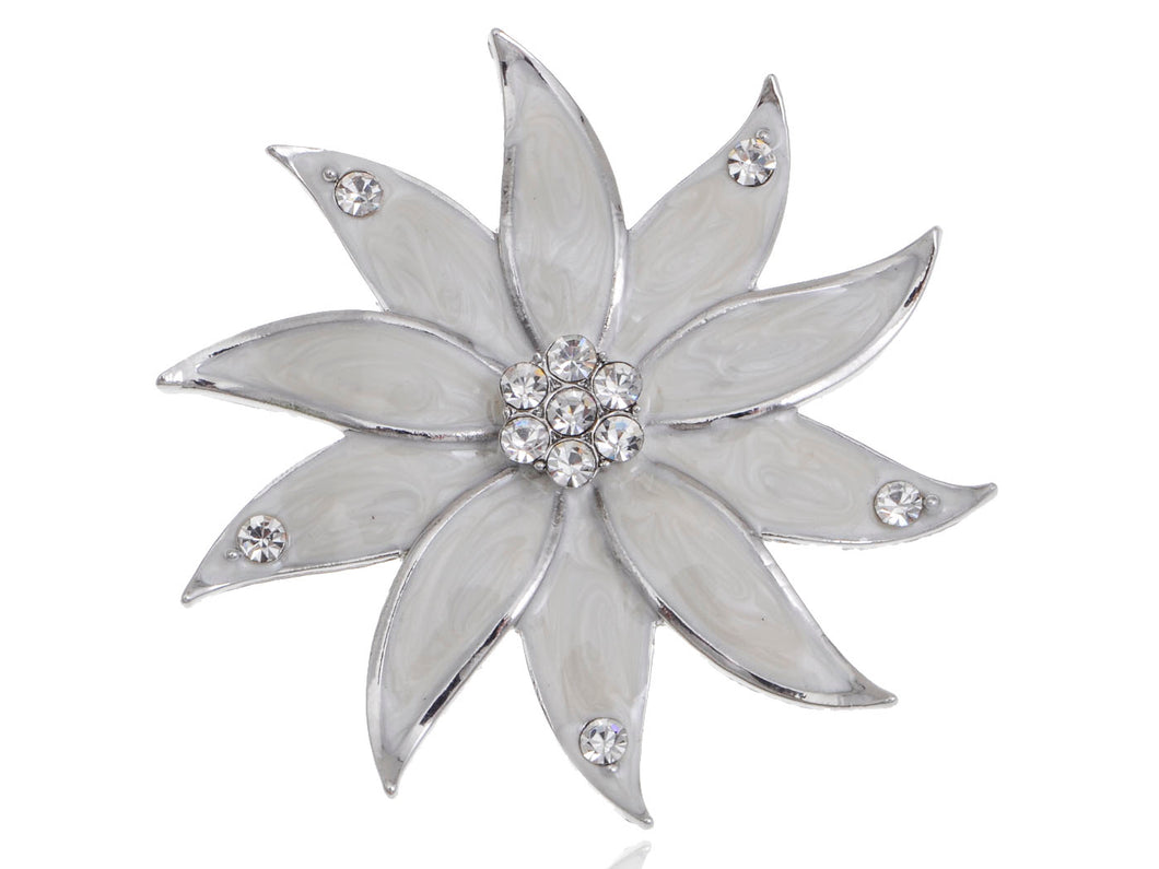 Glamour Pearlescent Enamel Painted Flower Petals Pin Brooch