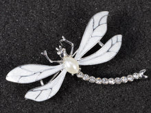 Load image into Gallery viewer, Pearl White Dragonfly Brooch Pin