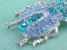 Load image into Gallery viewer, Silver Sapphire Blue Colored Beetle Bug Insect Brooch Pin