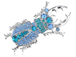 Silver Sapphire Blue Colored Beetle Bug Insect Brooch Pin