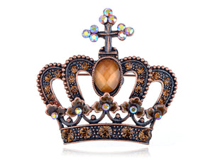 Vintage Repro Topaz Royal Crown Jewelry Pin Brooch