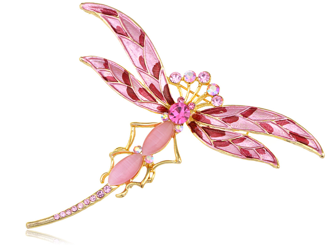 Superb Rose Pink Cat Eye Dragonfly Jewelry Pin Brooch