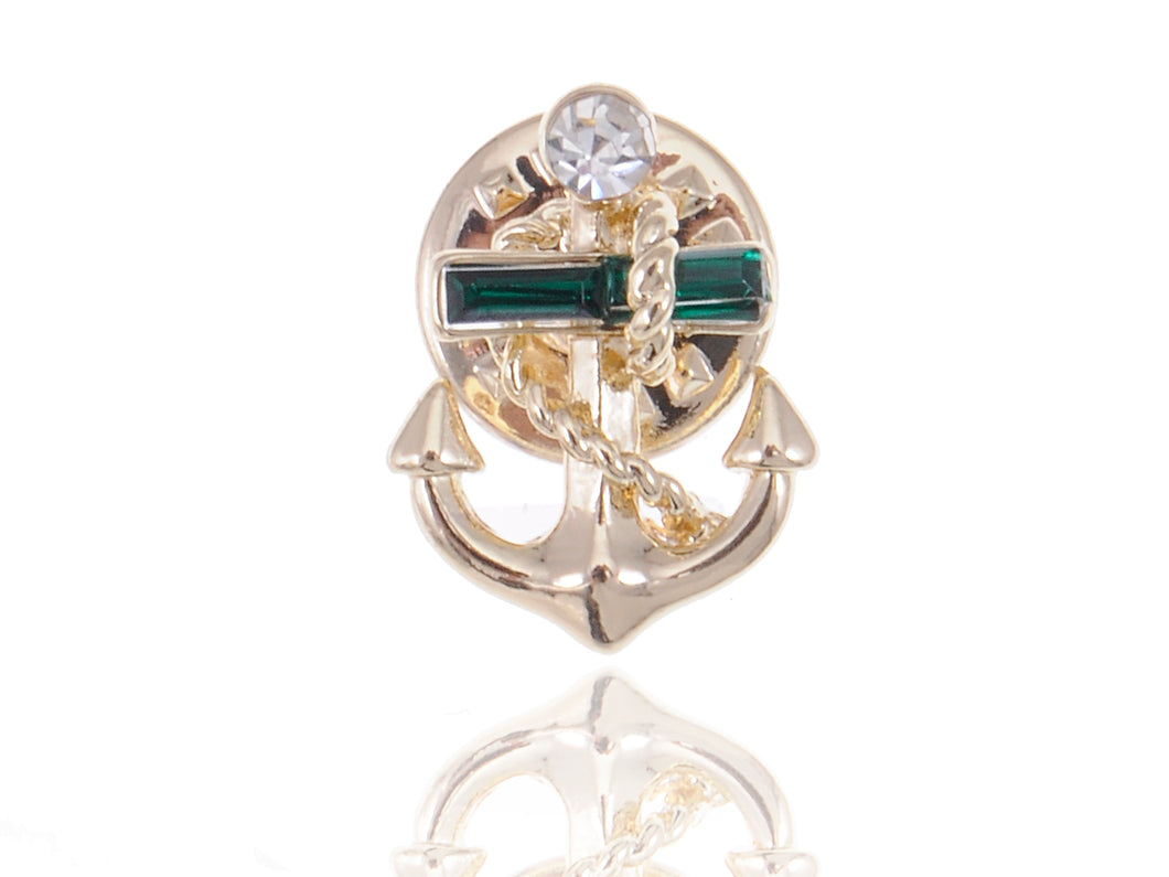 White Accented Anchor Pin Brooch