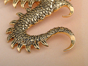 Gold Pearl Ancient Zodiac Dragon Monster Brooch Pin
