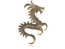 Load image into Gallery viewer, Gold Pearl Ancient Zodiac Dragon Monster Brooch Pin