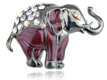 Load image into Gallery viewer, Nickel Iridescent Pearlescent Maroon Elephant Brooch Pin