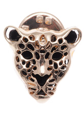 Load image into Gallery viewer, Contemporary Black Enamel Leopard Face Pin Brooch