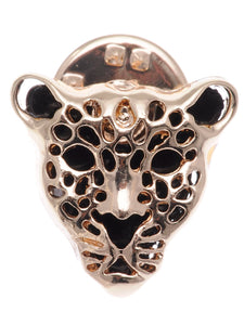 Contemporary Black Enamel Leopard Face Pin Brooch