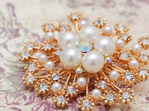 Royal Pearl White Accented Brooch