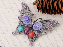 Load image into Gallery viewer, Antique Cateye Butterfly Jewelry Pin Brooch