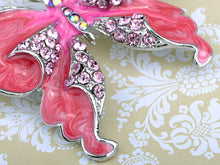 Load image into Gallery viewer, Dark Pink Glitter Butterfly Insect Brooch Pin