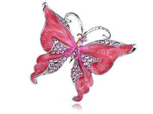 Dark Pink Glitter Butterfly Insect Brooch Pin