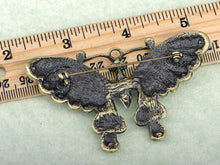 Load image into Gallery viewer, Gun Green Antique Vintage Butterfly Brooch Pin