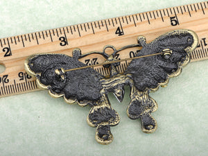 Gun Green Antique Vintage Butterfly Brooch Pin