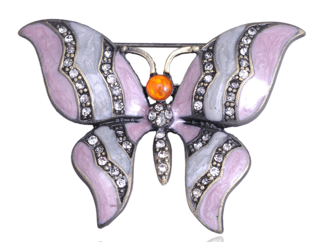 Rose Pink Pastel Enamel Butterfly Pin Brooch