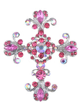 Load image into Gallery viewer, Victorian Flourish Flower God Cross Pin Brooch Purple
