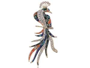 Colored Abalone Phoenix Bird Brooch Pin
