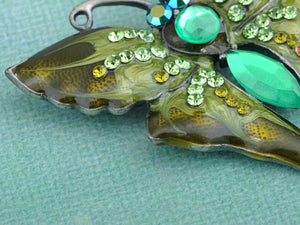Antique Green Vintage Butterfly Brooch Pin