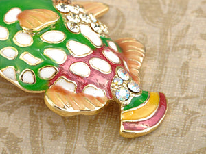 Multicolored Green Red Tropical Nautical Fish Brooch Pin
