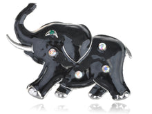 Load image into Gallery viewer, Jet Black Enamel Gem Holy Tusk Asian Elephant Pin Brooch