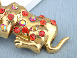 Antique Brass Iridescent Ruby Red Hound Dog Animal Pin Brooch