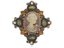 Load image into Gallery viewer, Vintage Victorian Topaz Cat Eye Cameo Maid Profile Pendant Pin Brooch