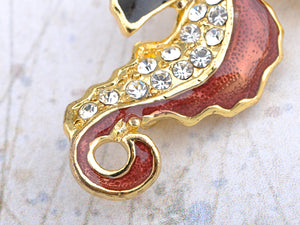 Finish Brown Enamel Sea Horse Fish Pin Brooch