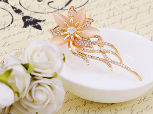 Peach Floral Flower Jellyfish Brooch Pin