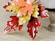 Load image into Gallery viewer, Red Yellow Orange Enamel Maple Leaf Pin Brooch