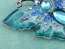 Load image into Gallery viewer, Enamel Wing Blue Green Sapphire Gem Butterfly Moth Pin Brooch
