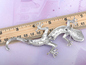 Antique Silver Grey Vintage Gothic Gecko Lizard Long Brooch Pin