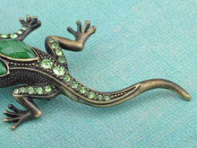 Load image into Gallery viewer, Gun Green Antique Vintage Lizard Brooch Pin