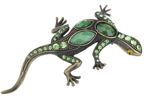 Gun Green Antique Vintage Lizard Brooch Pin