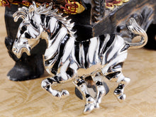 Load image into Gallery viewer, Black White Striped African Zebra Horse Brooch Pin