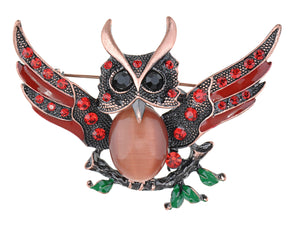 Antique Wise Owl On Branch Painted Enamel Bird Brooch Pin