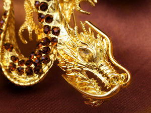 Antique Topaz Dragon Monster Brooch Pin