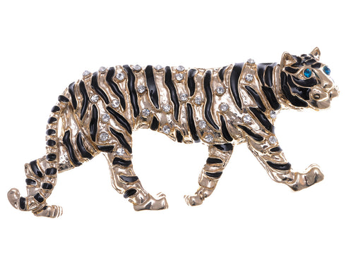 Gold Stripe Tiger Cat Brooch Pin