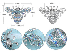 Load image into Gallery viewer, Aqua Light Blue Queen Bee Pin Brooch Insect Bug