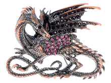 Load image into Gallery viewer, Antique Rust Gun Fantasy Renaissance Medieval Dragon Pink Brooch Pin
