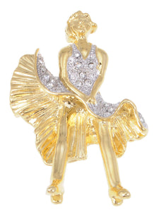 Gold Marilyn Monroe Keepsake Souvenir Pin Brooch