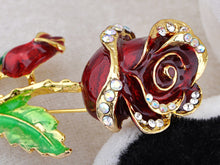 Load image into Gallery viewer, White Enamel Painted Rose Flower Pin Brooch