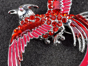Red Enamel Flame Phoenix Fire Bird Resurrection Survivor Brooch Pin