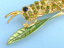 Load image into Gallery viewer, Dark Green Leaf Grasshopper Locust Cricket Pin Brooch