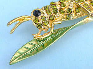 Dark Green Leaf Grasshopper Locust Cricket Pin Brooch