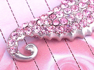 Pink Light Rose Jewel Baby Sea Horse Fish Pin Brooch