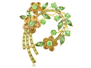 Topaz Green Floral Flower Leaf Wreath Pin Brooch