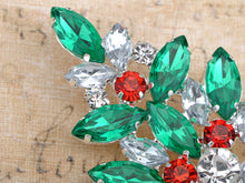 Load image into Gallery viewer, Multi Colored Holiday Christmas Tree Jewel Pin Brooch