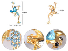 Load image into Gallery viewer, Sapphire Blue Jet Black Gem Frog Pin Brooch