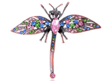 Load image into Gallery viewer, Art Noueveau Antique Copper Multi Color Dragonfly Pin Brooch