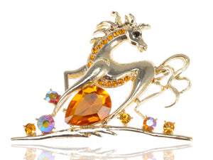 Topaz Running Horse Animal Pin Brooch